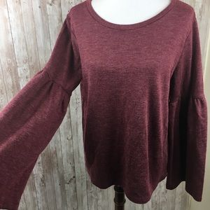 Lucky Brand Red Bell Sleeve Boho Blouse